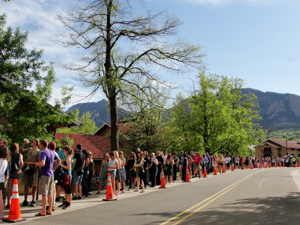 Students line up to see President Obama speak at the Coors Center in Boulder, Colo. on April 24. Alison Noon, The Washington Post