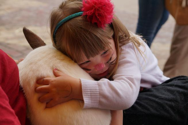 Adelynn LeBaron, 3, hugs a bunny Saturday afternoon at the Children's Museum of Denver. Earlier in the day, Adelynn had her face painted to match her favorite animal. Alison Noon, The Denver Post