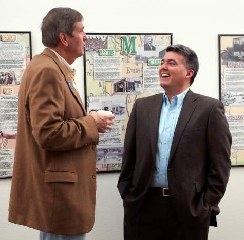 Weld County Sheriff John Cooke and Rep. Cory Gardner share a laugh outside the Weld County Republican Party biannual organizational committee meeting Saturday morning. Cooke's bid for reelection in 2014, which may or may not violate a county law that limits his position to three consecutive terms, is expected to be decided in court. Alison Noon, The Greeley Tribune