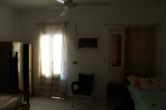 Inside the bedroom, where the coveted AC is located. An Italian girl will share the room with me in about a week