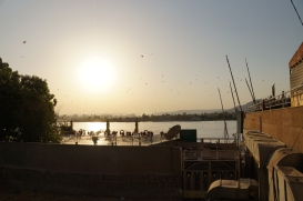 View of the Nile from the east-bank corniche near Luxor Temple