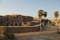 The far wing of Luxor Temple; downtown Luxor on the right
