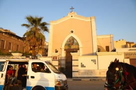 The Francescan Catholic Church, conveniently located across the street from Luxor Temple and a few doors down from a mosque