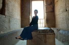 I sit atop the ancient throne of a pharaoh (aside from stairs leading up to it, I'm not sure how Egyptologists decided this was a throne)